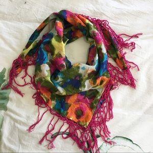 Floral and fringe scarf